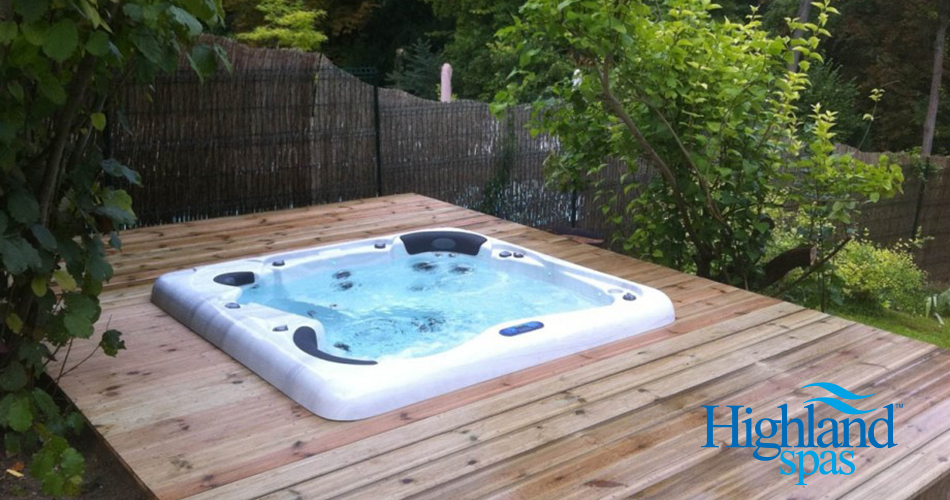 highland spa in a wood deck, NC Spas, hot tubs outdoor, charlotte nc spas, portable spas hot tubs, charlotte spas, outdoor hot tub, outdoor hot tubs, NC Hot Tubs, Matthews NC hot tubs, Matthews NC spas,