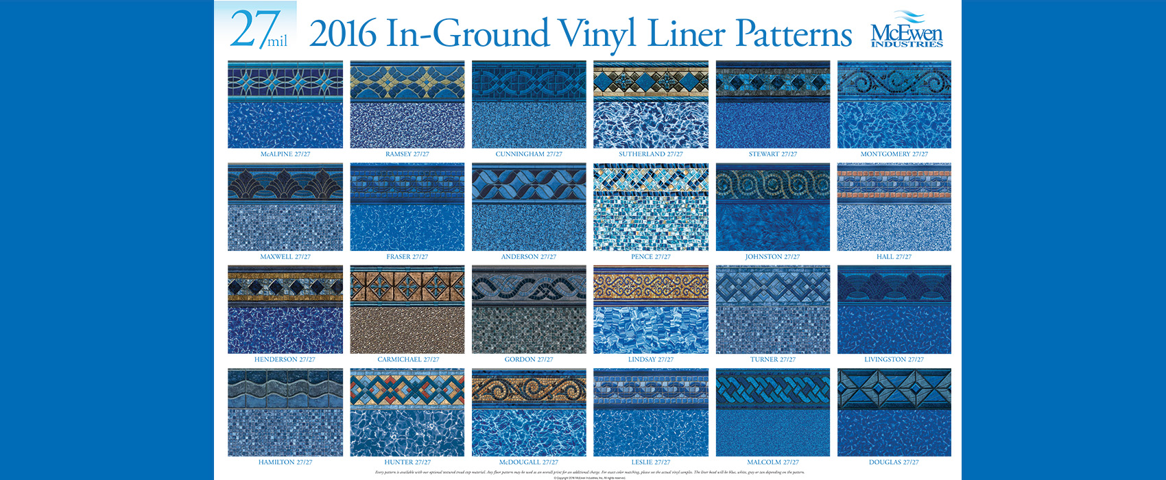 2016 inground swimming pool liner patterns
